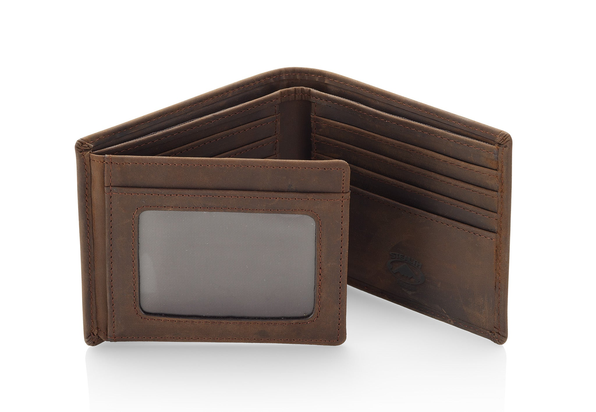 Mens Brown Leather RFID Wallet With Flip Out ID Window and 12 Card Slots