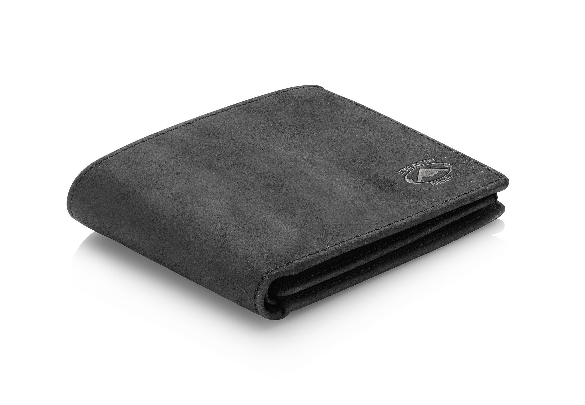Mens Black Leather RFID Wallet With Flip Out ID Window and 12 Card Slots