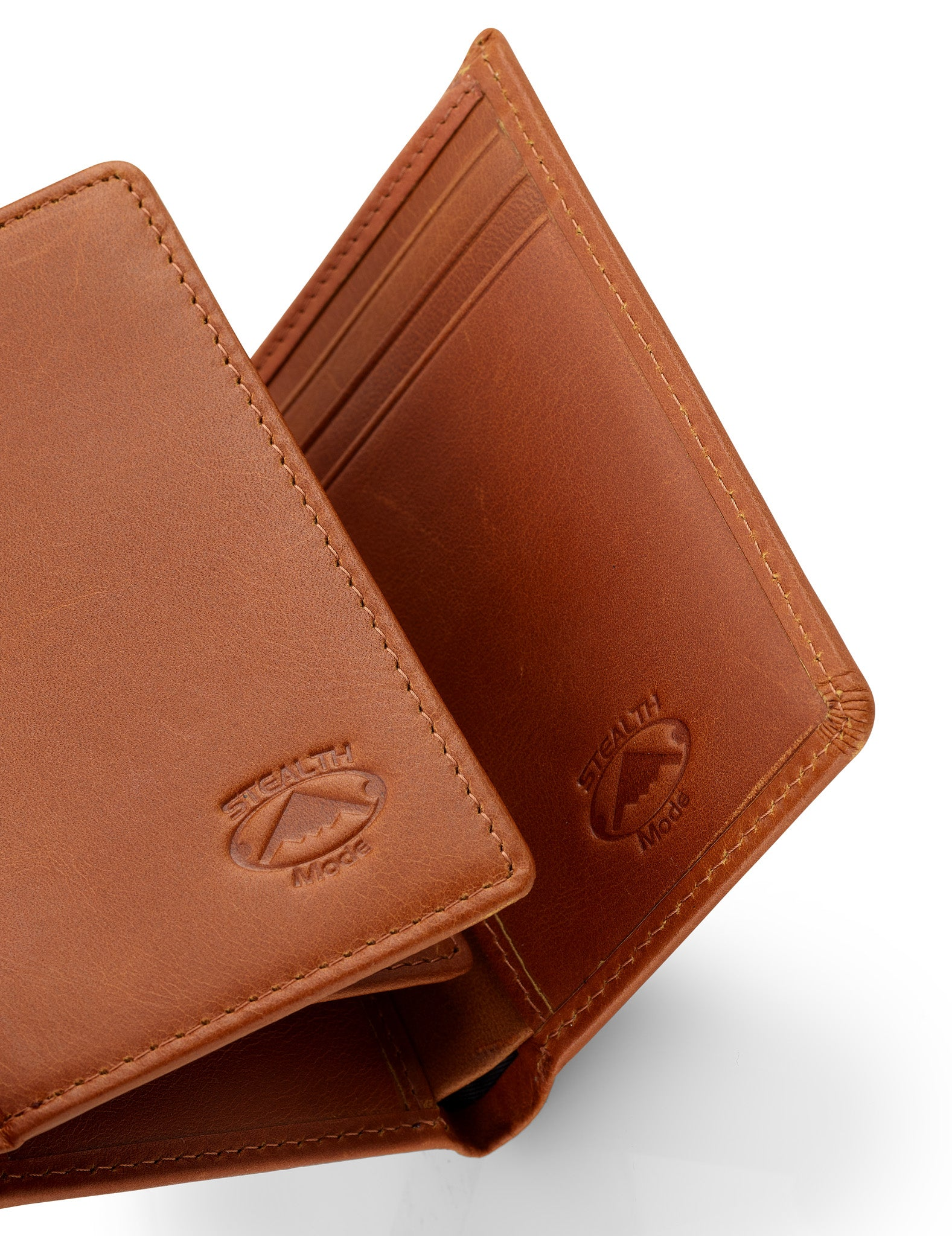 Trifold Leather Wallet for Men with ID Holder and RFID Blocking (Light Brown)