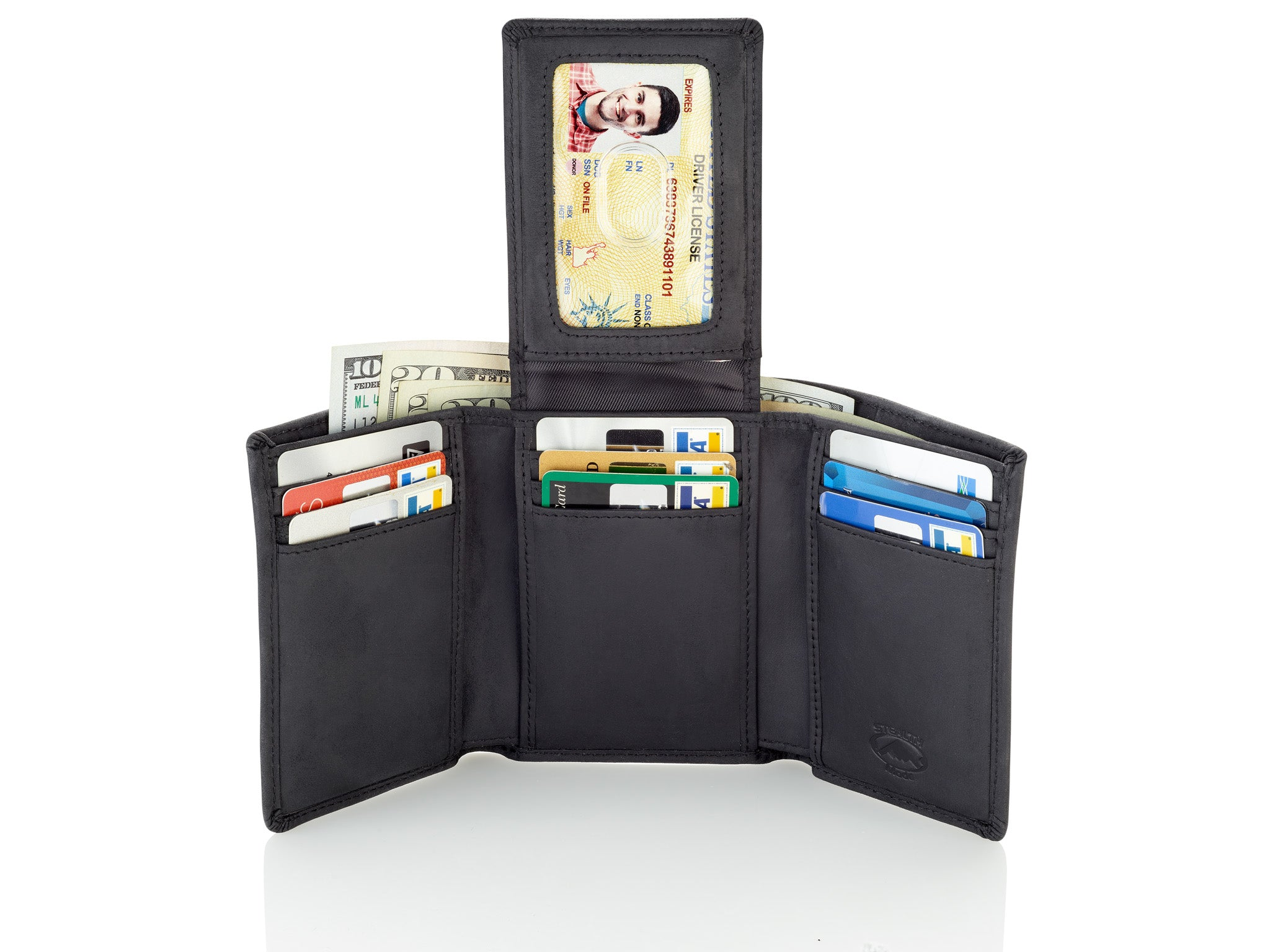 Trifold Leather Wallet for Men with ID Holder and RFID Blocking (Black)