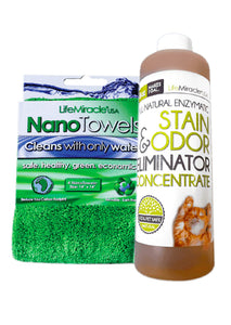 Green Cleaning Pack (1 x NanoTowel + 1 x Enzyme Bottle 8oz)