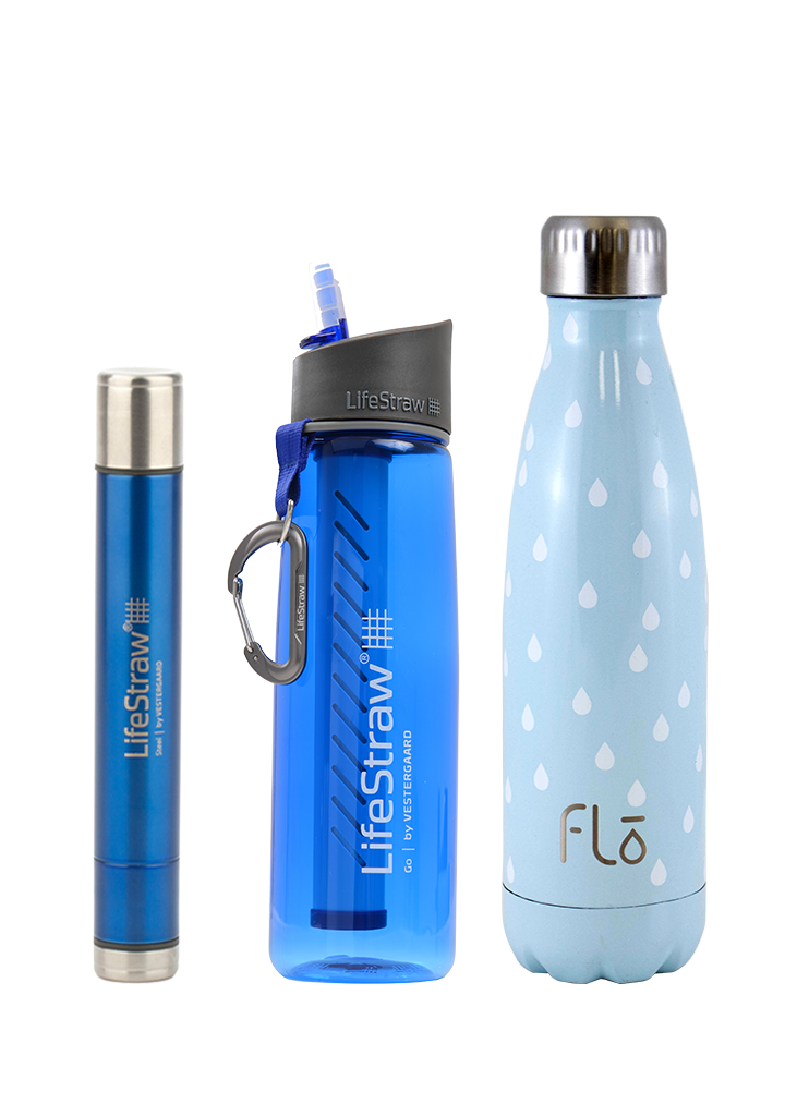 1 x LifeStraw Steel + 1 x LifeStraw GO 2.0 + 1 x Flo (Water)