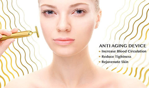Image of Aurum™ - Vibrating T-Bar Facial Massager To Stimulate Blood Circulation For Skin Rejuvenation