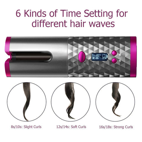 Image of WunderLux™ Wireless Automatic Curling Iron For Luscious Curls For Any Hair Type