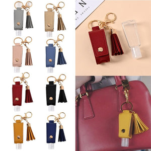Sani-Pal™ Hand Sanitizer Leather Keychain Holder (Pack of 2)