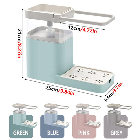 3-in-1 Soap Dispenser, Sponge Caddy & Towel Rack