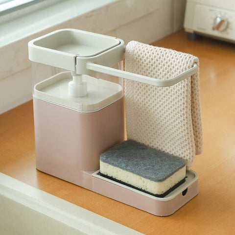 Image of 3-in-1 Soap Dispenser, Sponge Caddy & Towel Rack