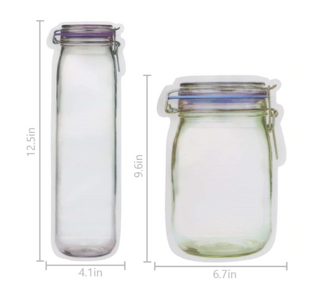 Reusable Jar Shaped Pouches (Set of 10 or 12)