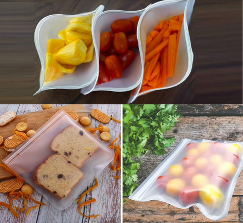 Image of Reusable Silicone Combo Set (6pc Silicone Lids + 4pc Silicone Food Bag)