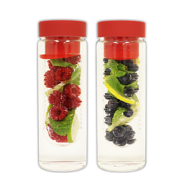 Fruit Infuser Glass Water Bottle - Double Pack Special