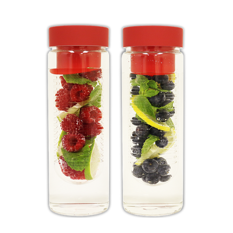 Image of Fruit Infuser Glass Water Bottle - Double Pack Special