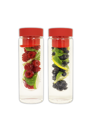 Fruit Infuser Glass Water Bottle [Double Pack Special]