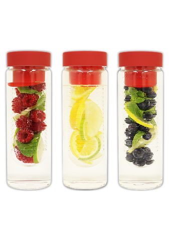 Fruit Infuser Glass Water Bottle [Triple Pack Special]