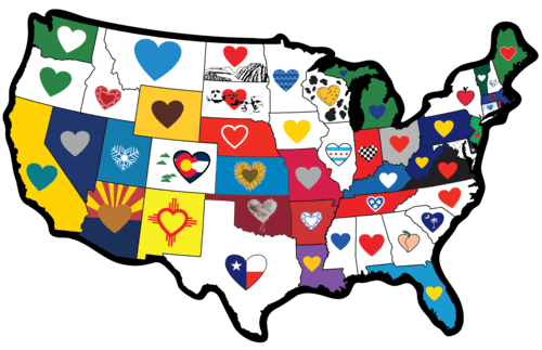 Usa Map Of The States.50 States All Usa Map Heart In States Sticker
