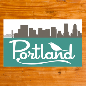 Portland Skyline with Bird Sticker