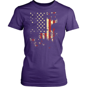 Distressed American Flag District Women's Shirt