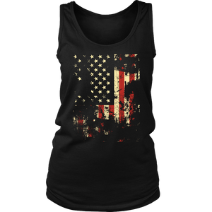 Distressed American Flag District Women's Tank
