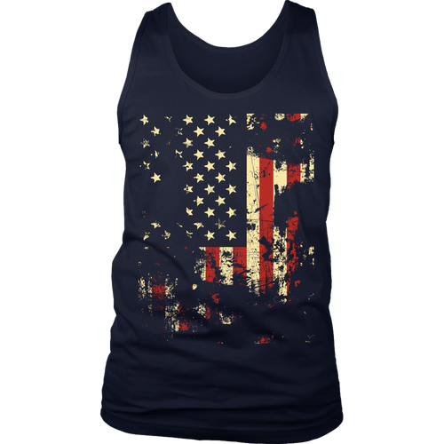 Distressed American Flag District Men's Tank