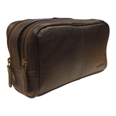 AsdruMark Dark Brown Leather Wash Bag
