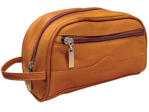 AsdruMark Tan Leather Compact Wash Bag