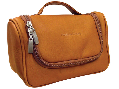 AsdruMark Tan Leather Hanging Wash Bag, Small