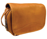 AsdruMark Tan Leather Hanging Wash Bag, Large