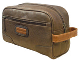 AsdruMark Brown & Cognac Compact Leather Wash Bag
