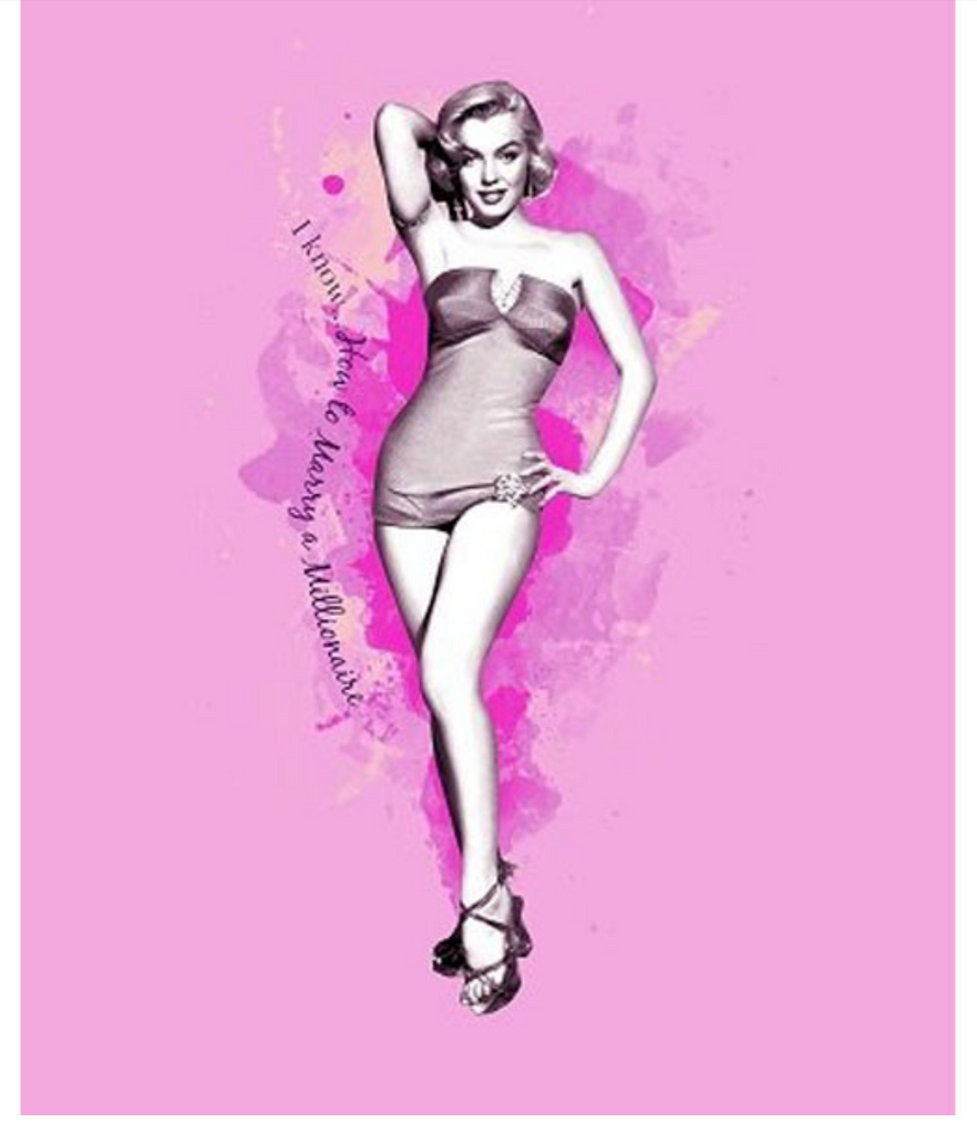 Marilyn Monroe Pink Bathing Suit Queen Blanket