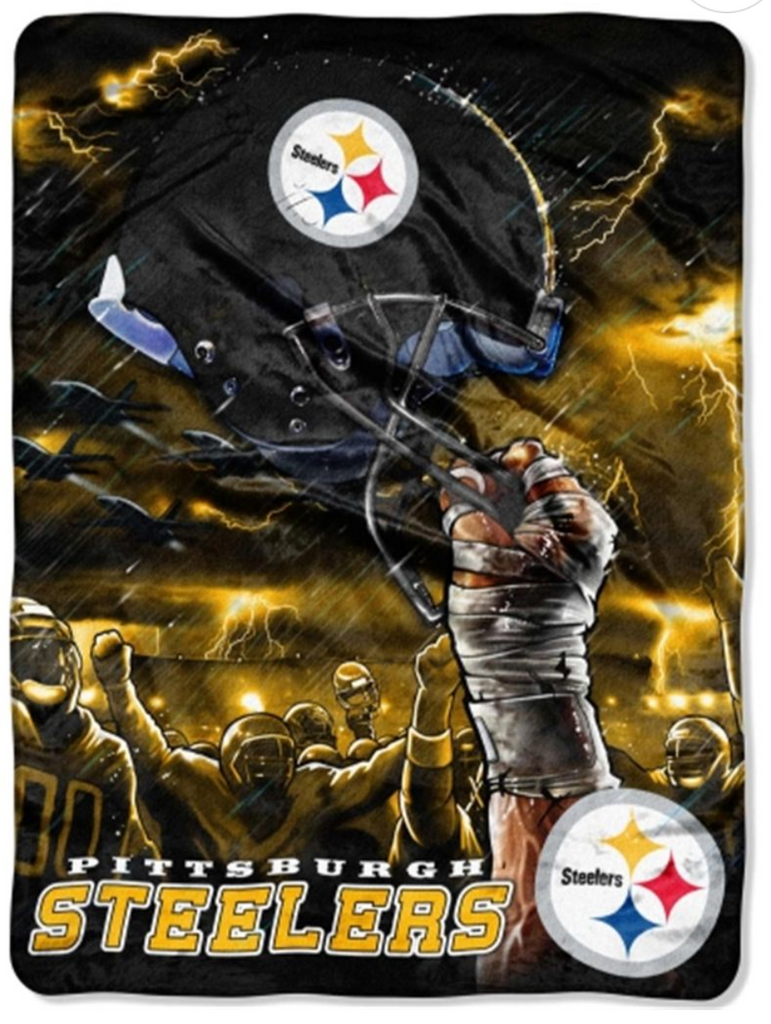 Pittsburgh Steelers Helmet Twin Blanket