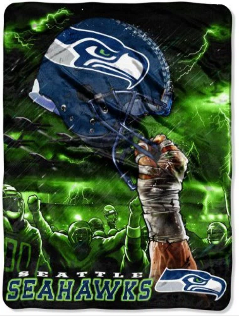 Seattle Seahawks Helmet Twin Blanket