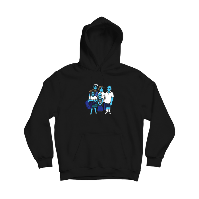 Skyblue Alien Family Hoodie - Black