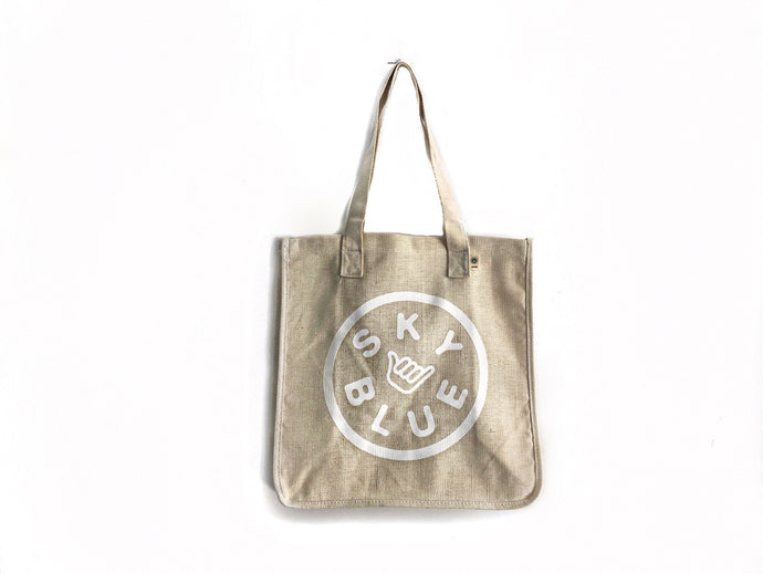 Off White Reusable Skyblue Hemp Grocery Bags