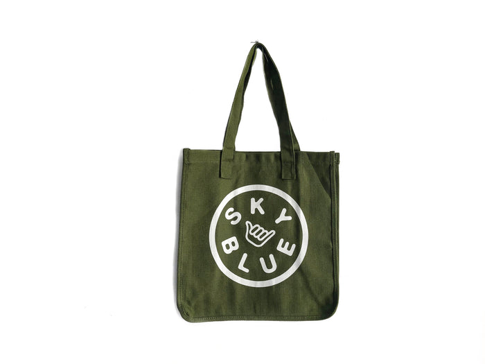 Olive Green Reusable Skyblue Hemp Grocery Bags