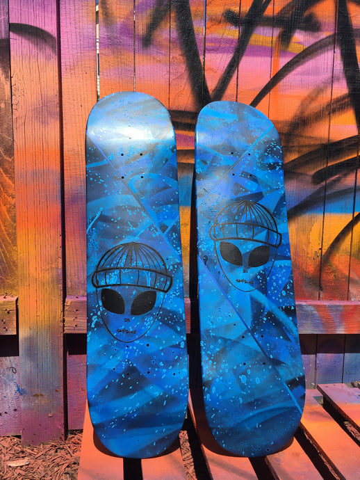 Skyblue Alien Skate Deck (Hand painted by Ethan Rivelle)