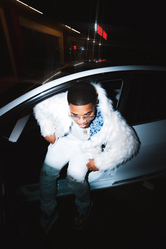 Custom Skyblue Faux Fur Full Zip Up Hoodie