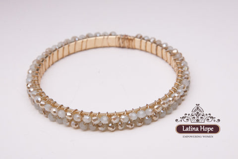 Cream Colored Gold-plated Bracelet - FREE SHIPPING!