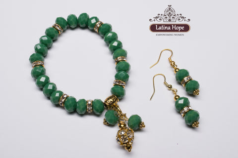 Jade-colored Crystal Bead Bracelet and Earring Set - FREE SHIPPING!