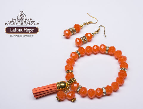 Orange-Colored Crystal Bead Bracelet & Earring Set - FREE SHIPPING!