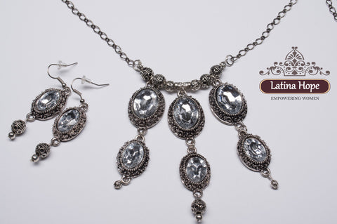 Pewter Colored Chain Necklace and Earring Set - FREE SHIPPING!