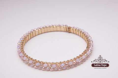 Pale Pink Iridescent Bead Gold-Plated Bracelet - FREE SHIPPING!