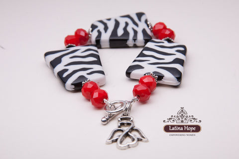 Zebra and Red Beaded Charm Bracelet - FREE SHIPPING!