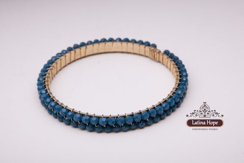 Denim Blue Rhinestone Gold-plated Bracelet - FREE SHIPPING!
