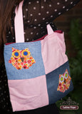Hand-Sewn Owl Patchwork Tote Bag - FREE SHIPPING!
