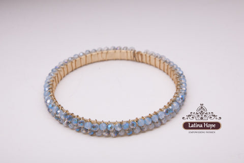 Powder Blue Rhinestone Gold-plated Bracelet - FREE SHIPPING!