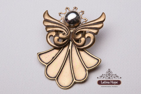 Bronze Swirl-Wings Angel Pin - FREE SHIPPING! (#4)