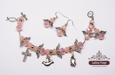Pink Crystal Angel Bracelet & Earing Set - FREE SHIPPING!