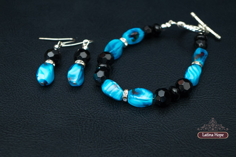 Blue Black Glass Set