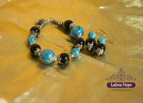 Black and Blue Glass Bracelet & Earring Set - FREE SHIPPING!