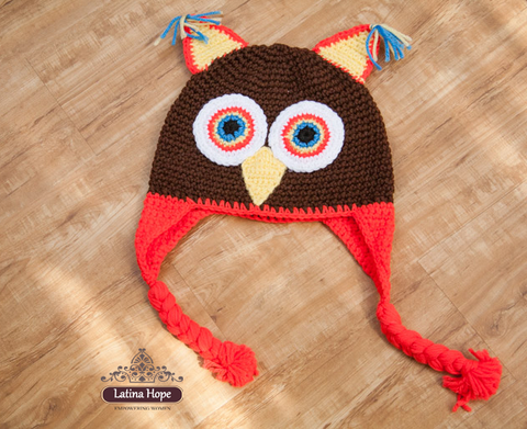 Handmade Crocheted Brown Owl Beanie / Hat Adult / Kids - FREE SHIPPING!
