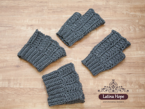 Handmade Crocheted Charcoal Gray Boot Cuff / Boot Toppers and Finger-less Mitten Set - FREE SHIPPING!
